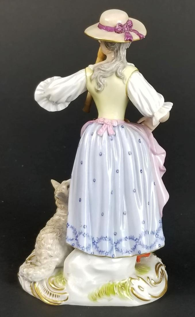 19th C. Meissen Figural Group of Woman w/ Sheep - 4