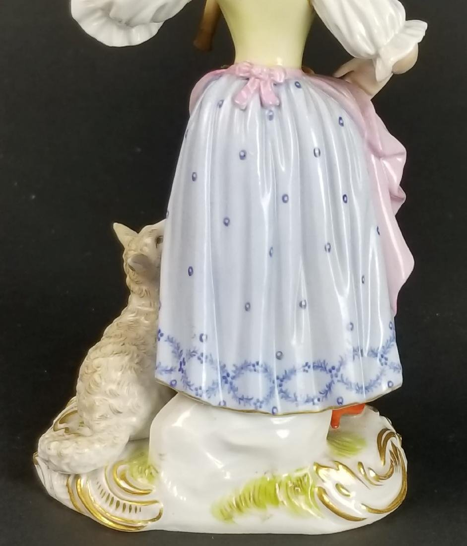 19th C. Meissen Figural Group of Woman w/ Sheep - 6
