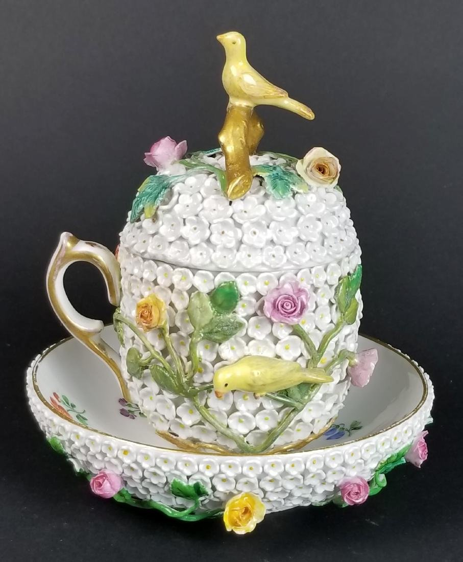 19th C. Meissen Snowball Flower Encrusted Cup and