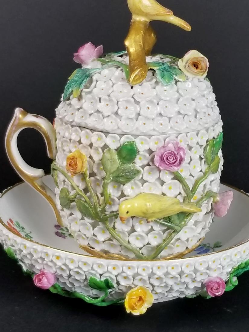 19th C. Meissen Snowball Flower Encrusted Cup and - 3