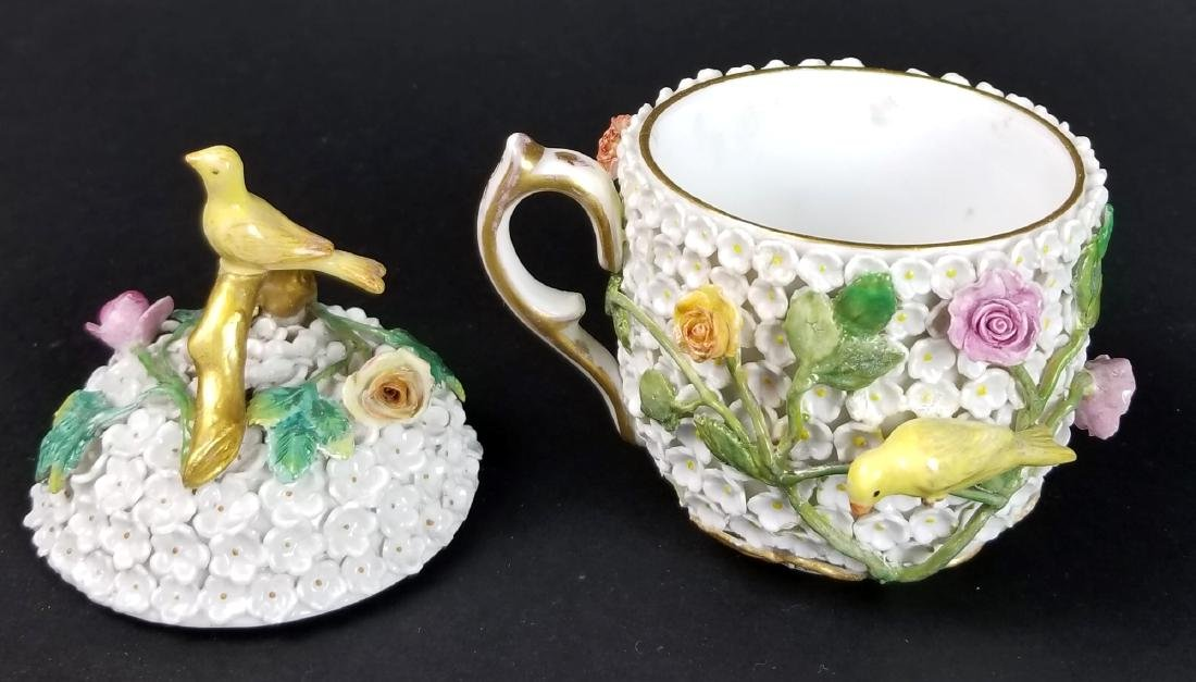 19th C. Meissen Snowball Flower Encrusted Cup and - 8