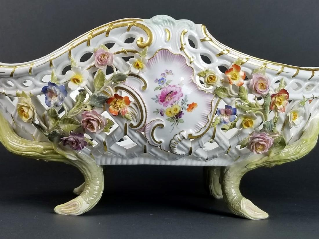 19th C. Meissen Floral Encrusted Reticulated Bowl - 2