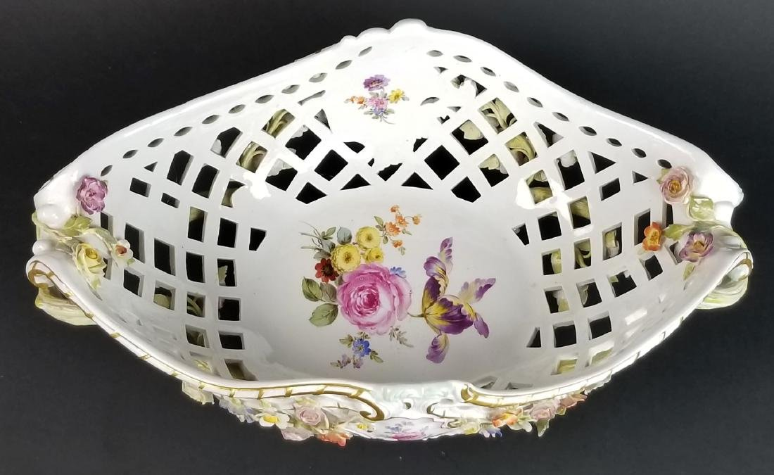 19th C. Meissen Floral Encrusted Reticulated Bowl - 3