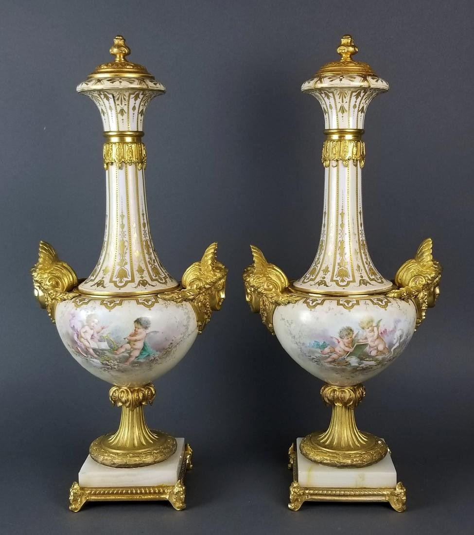 Pair of Large Sevres Bronze Mounted Figural Urns, 19th
