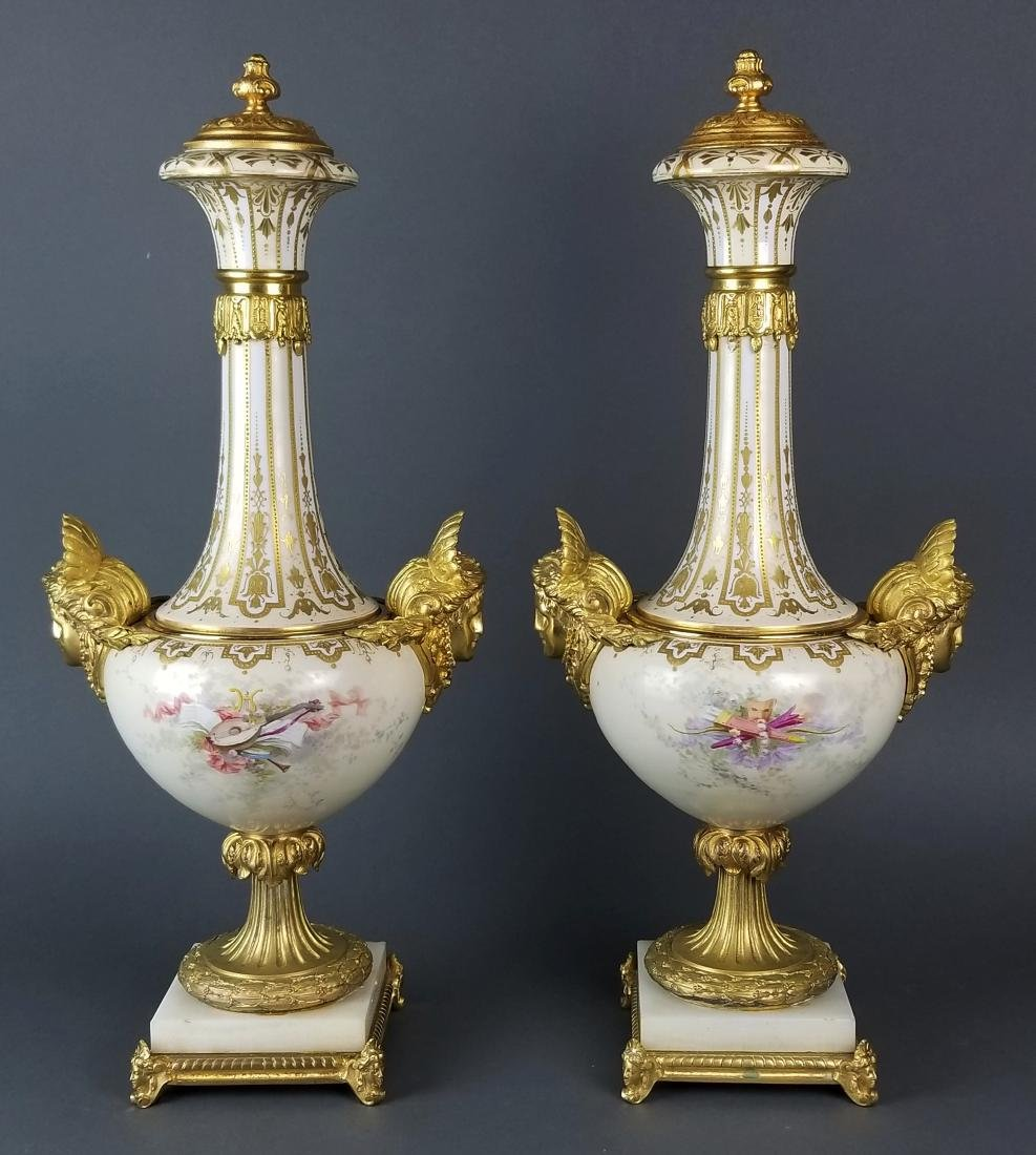 Pair of Large Sevres Bronze Mounted Figural Urns, 19th - 6