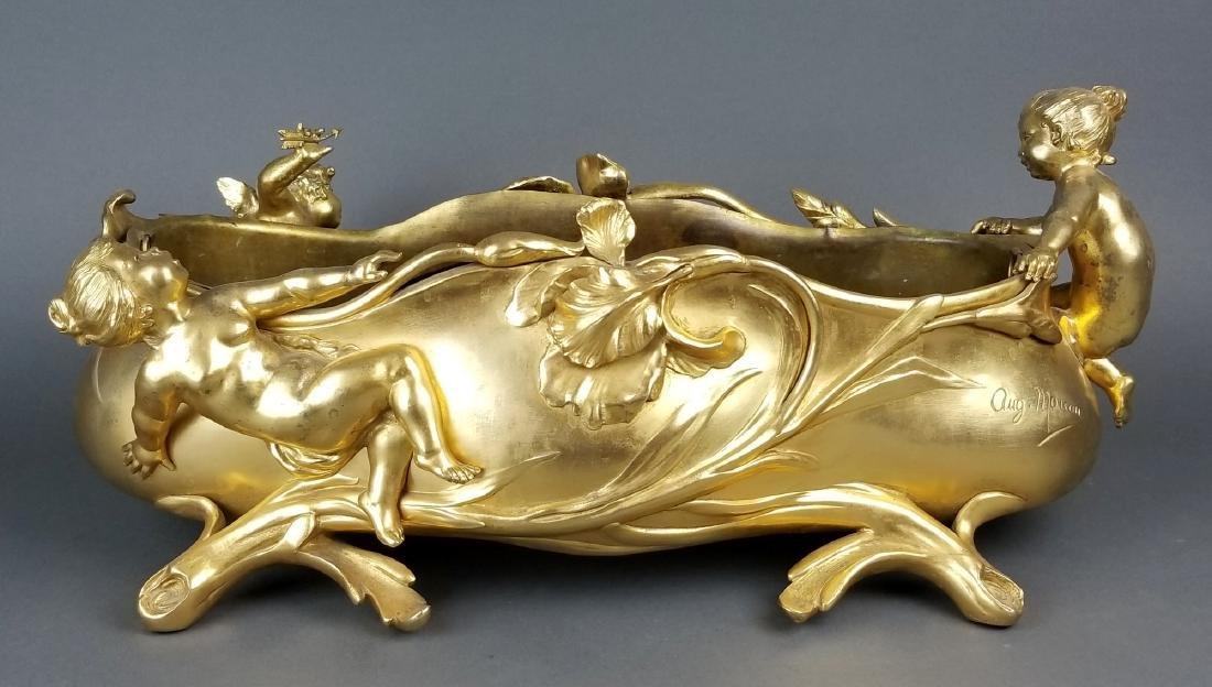 Large French Figural Bronoze Jardeniere Centerpiece