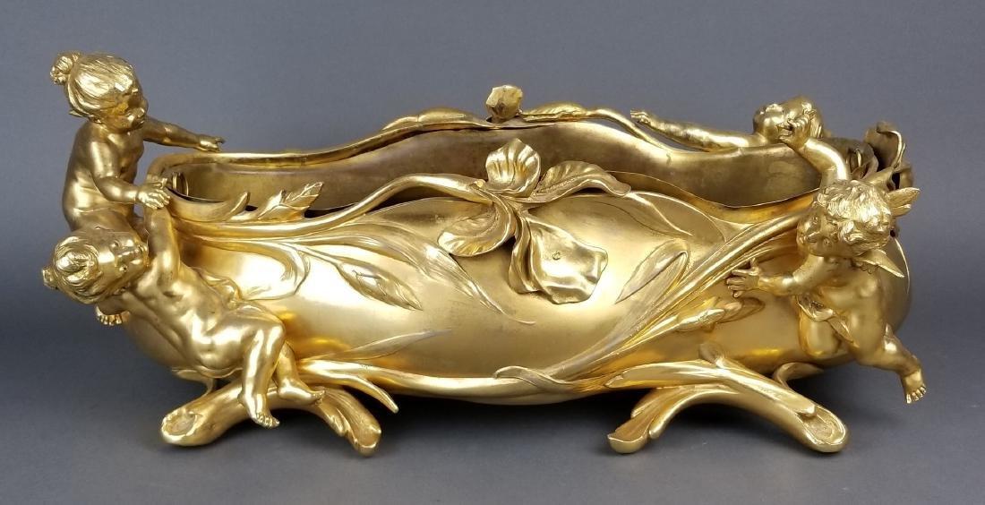 Large French Figural Bronoze Jardeniere Centerpiece - 2