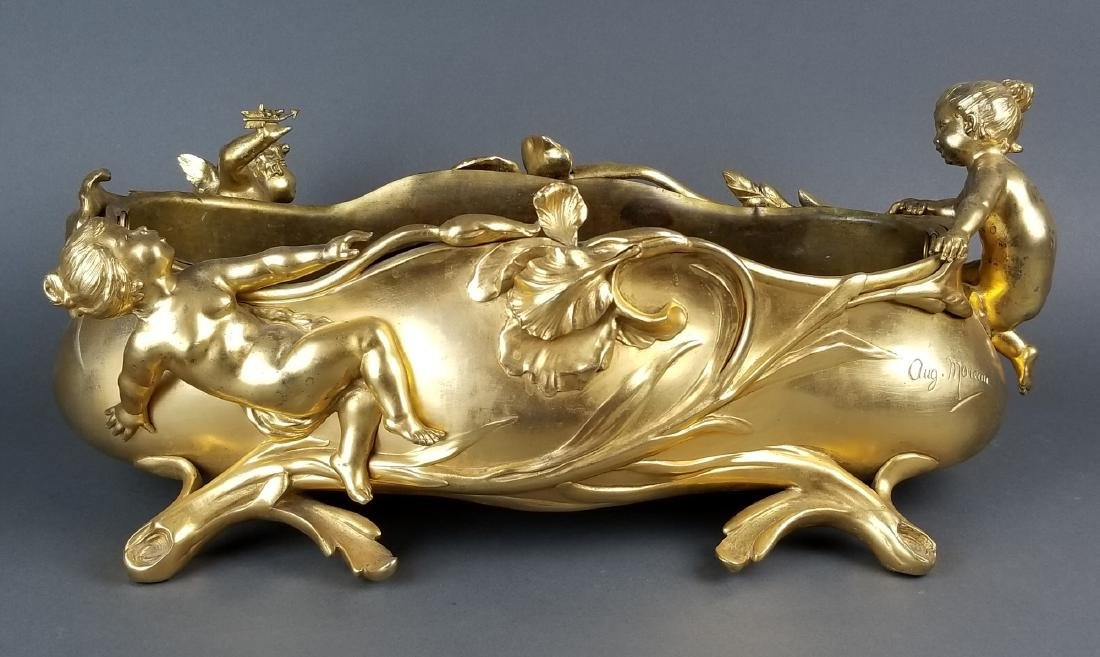 Large French Figural Bronoze Jardeniere Centerpiece - 7