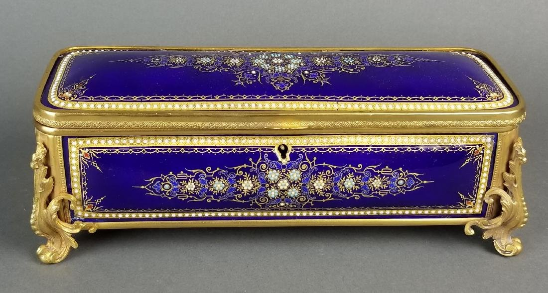 Large French Jewelled Enamel and Bronze Jewelry Box, - 3