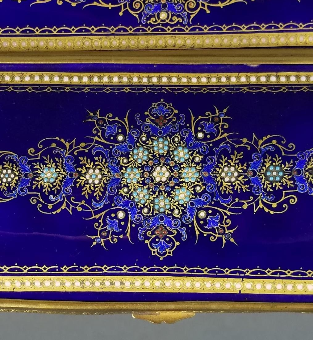 Large French Jewelled Enamel and Bronze Jewelry Box, - 5