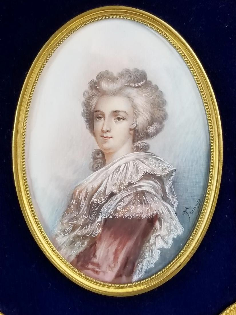 Fine 19th C. Bronze Frame with Handpainted Insert - 2