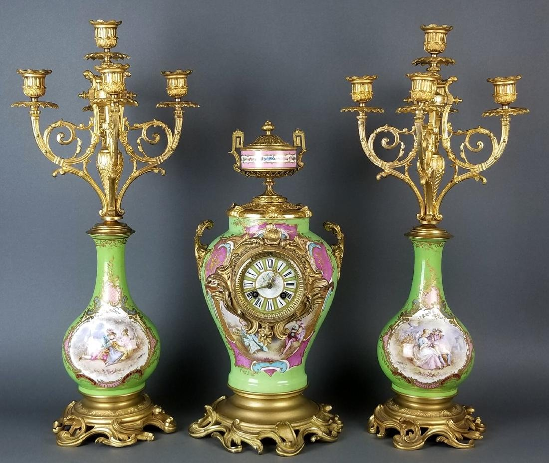 19th C. Sevres Porcelain and Bronze 3 Pc. Clockset
