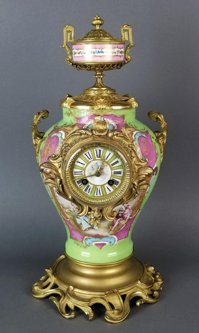 19th C. Sevres Porcelain and Bronze 3 Pc. Clockset - 2