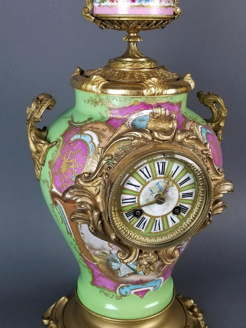 19th C. Sevres Porcelain and Bronze 3 Pc. Clockset - 3