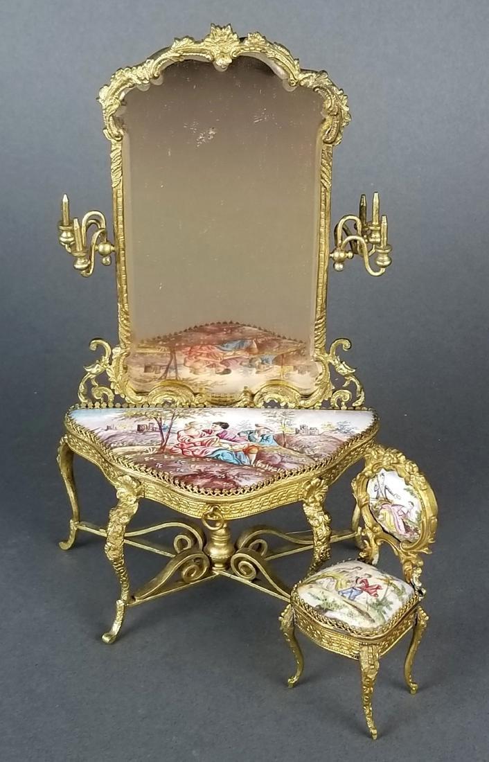 19th C. Austrian Viennese Enamel Vanity Table with