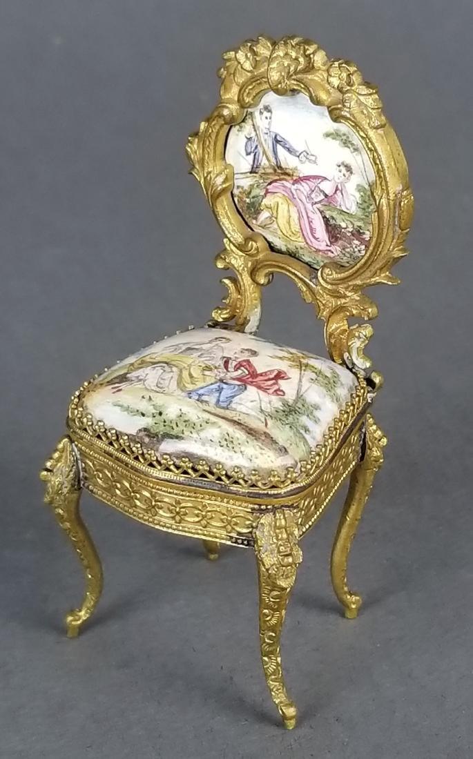 19th C. Austrian Viennese Enamel Vanity Table with - 2