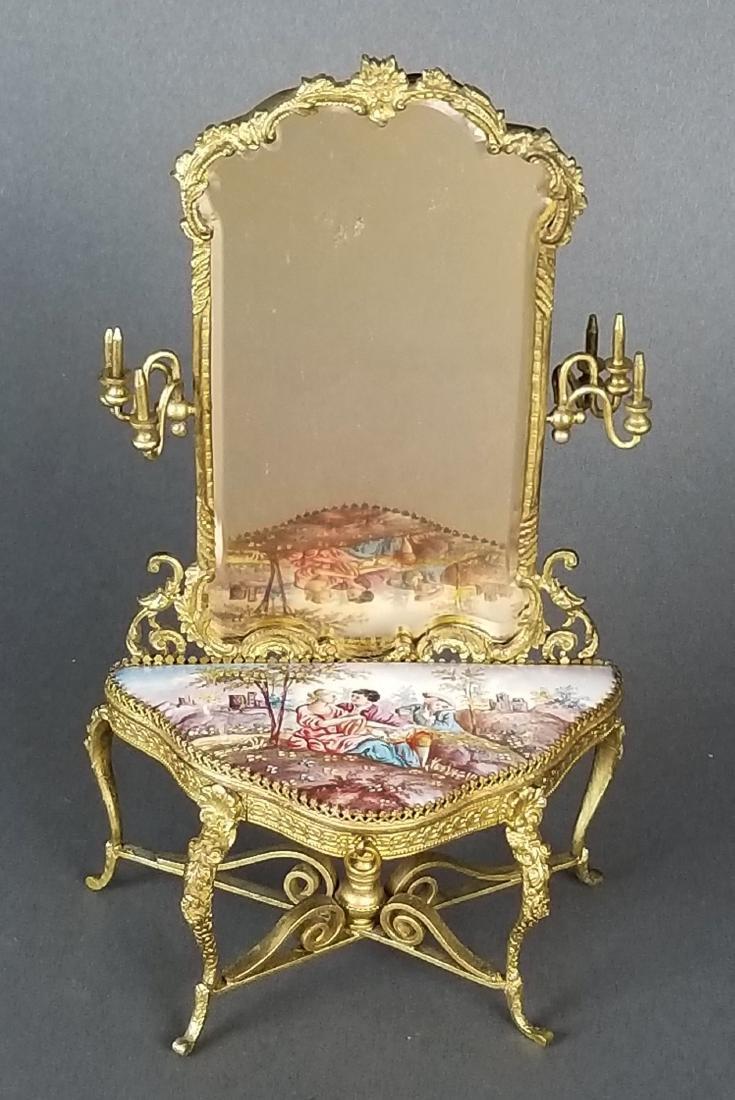 19th C. Austrian Viennese Enamel Vanity Table with - 3