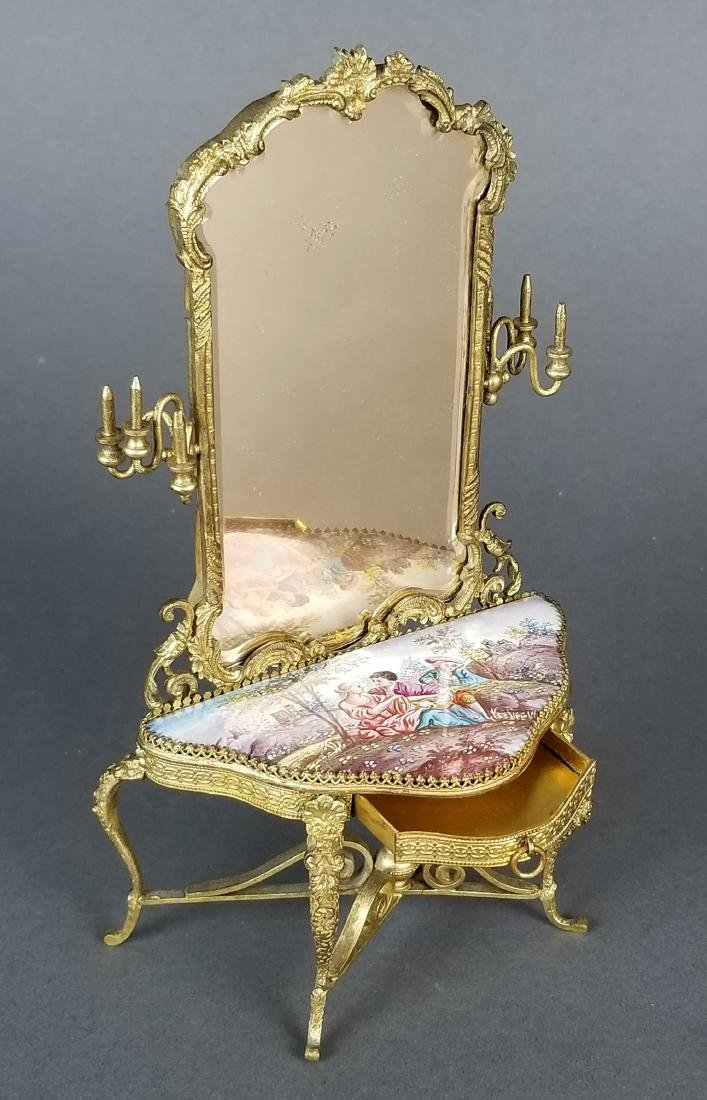 19th C. Austrian Viennese Enamel Vanity Table with - 7