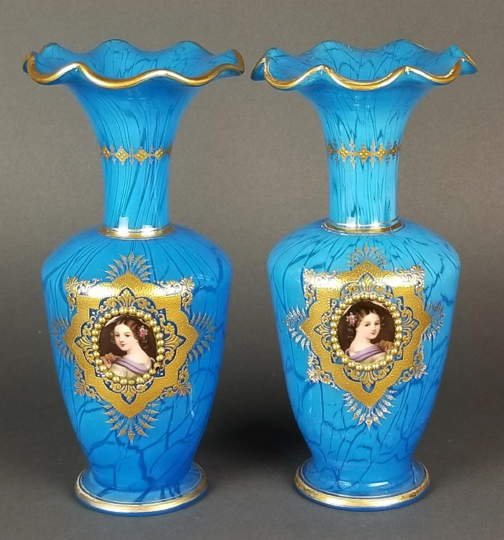 Pair of 19th C. Fine Baccarat Opaline Jewelled Vases