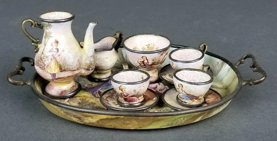 Austrian Viennese Enamel on Silver Teaset, 19th C.