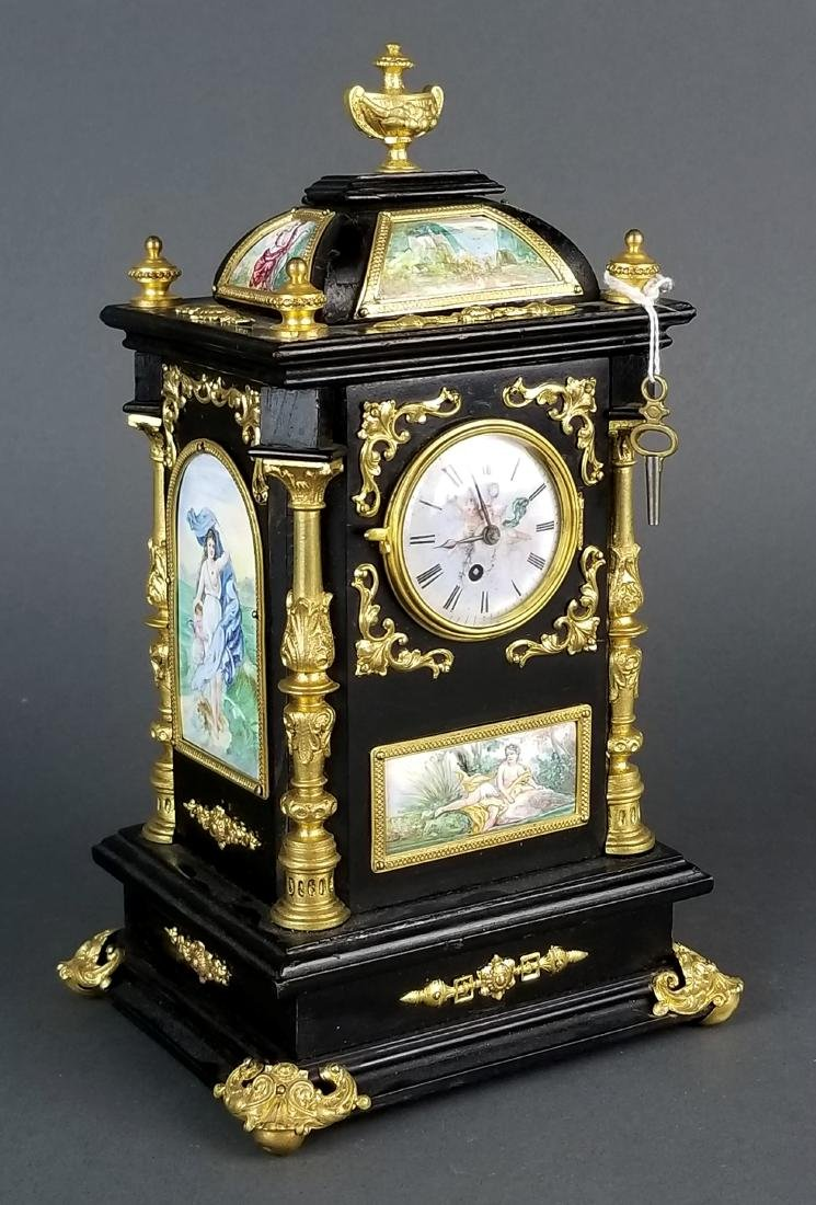 19th C. Large Austrian Viennese Enamel Clock
