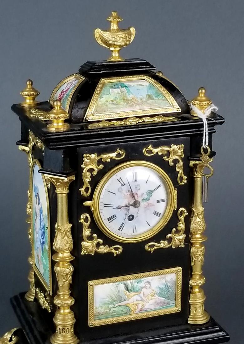 19th C. Large Austrian Viennese Enamel Clock - 2