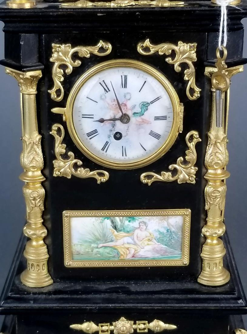 19th C. Large Austrian Viennese Enamel Clock - 5