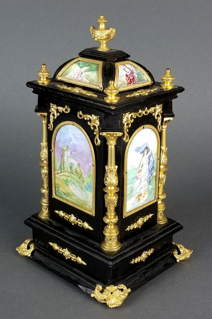 19th C. Large Austrian Viennese Enamel Clock - 7