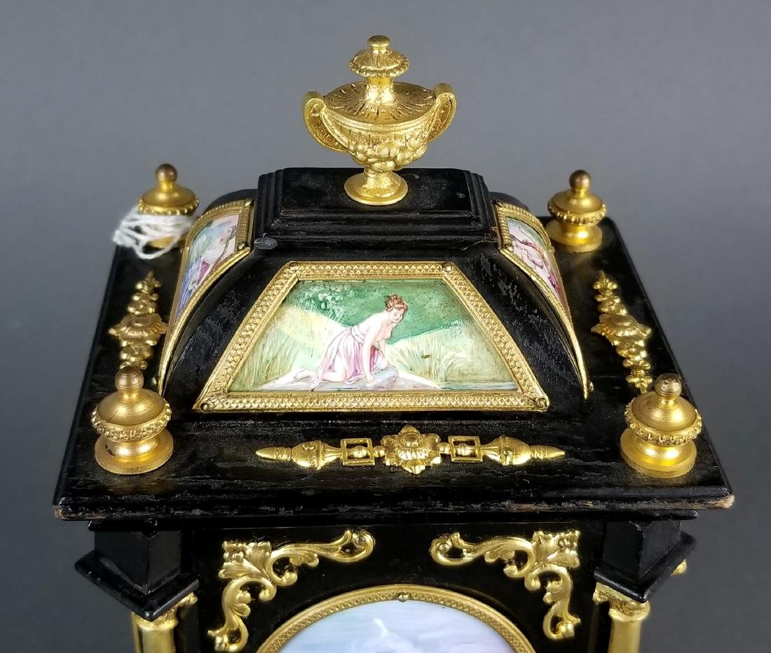 19th C. Large Austrian Viennese Enamel Clock - 8