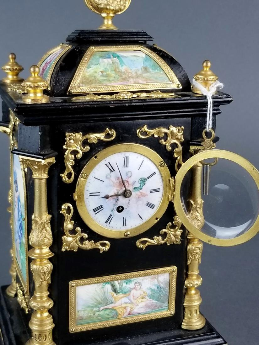 19th C. Large Austrian Viennese Enamel Clock - 9