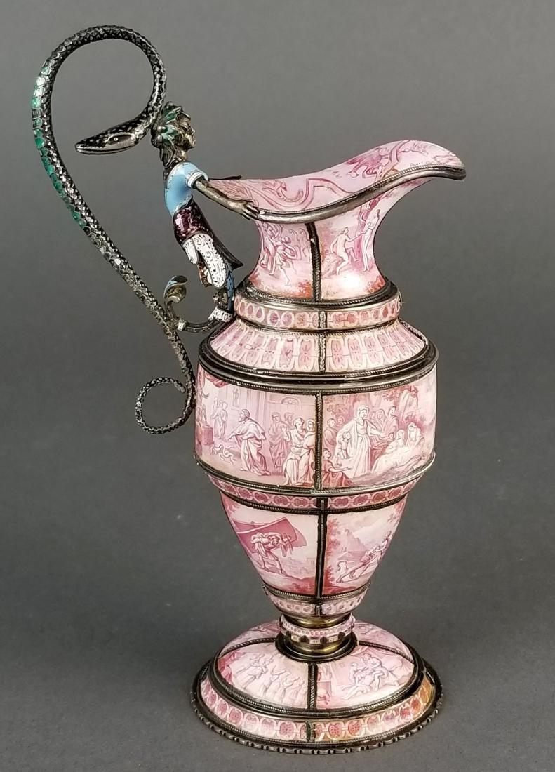 Large Austrian Viennese Enamel on Silver Vase