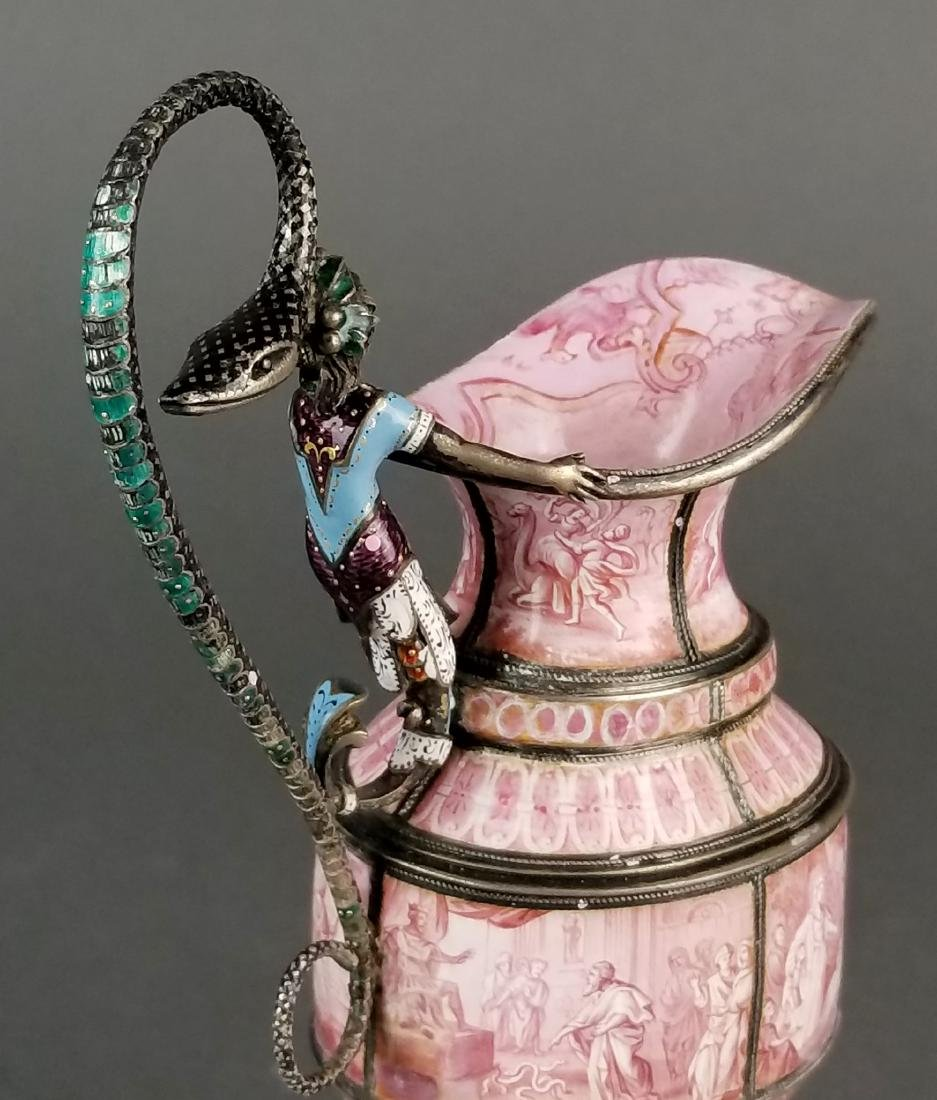 Large Austrian Viennese Enamel on Silver Vase - 2