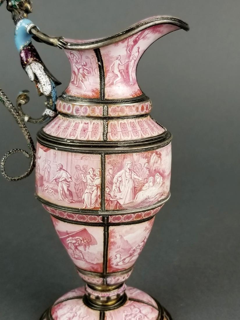 Large Austrian Viennese Enamel on Silver Vase - 3