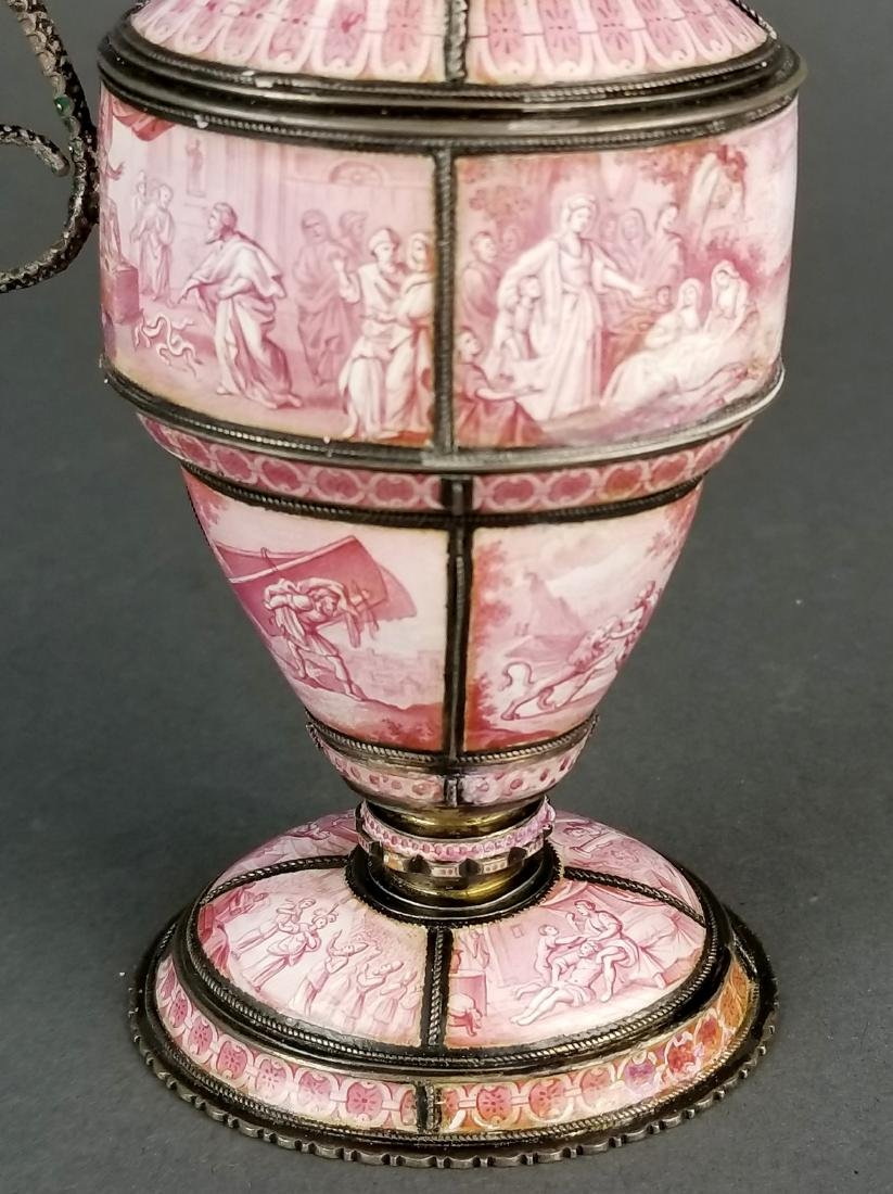 Large Austrian Viennese Enamel on Silver Vase - 4