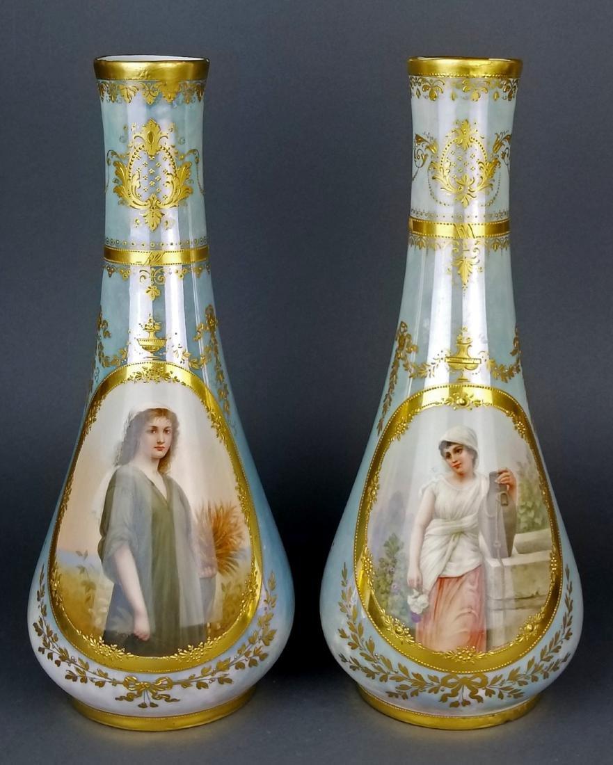 Pair of Exquisite Large Royal Vienna Hanpainted Vases,
