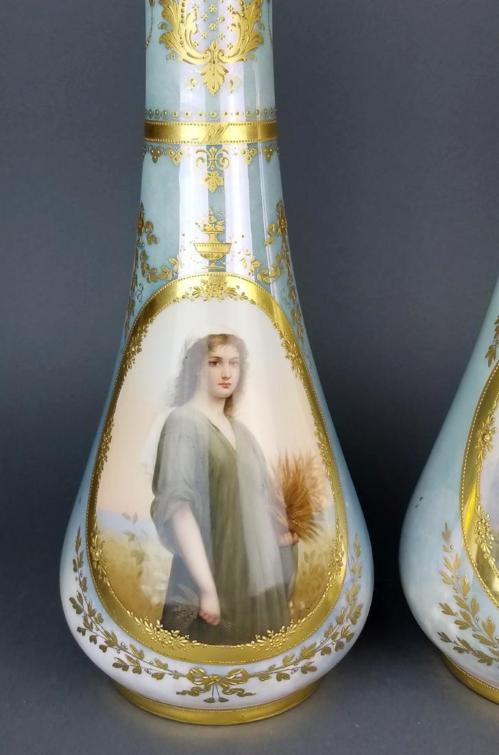 Pair of Exquisite Large Royal Vienna Hanpainted Vases, - 2
