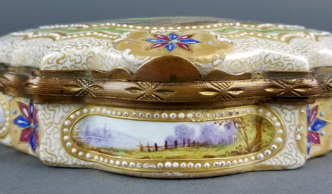 19th C. Sevres Handpainted and Jewelled Jewelry Box - 3