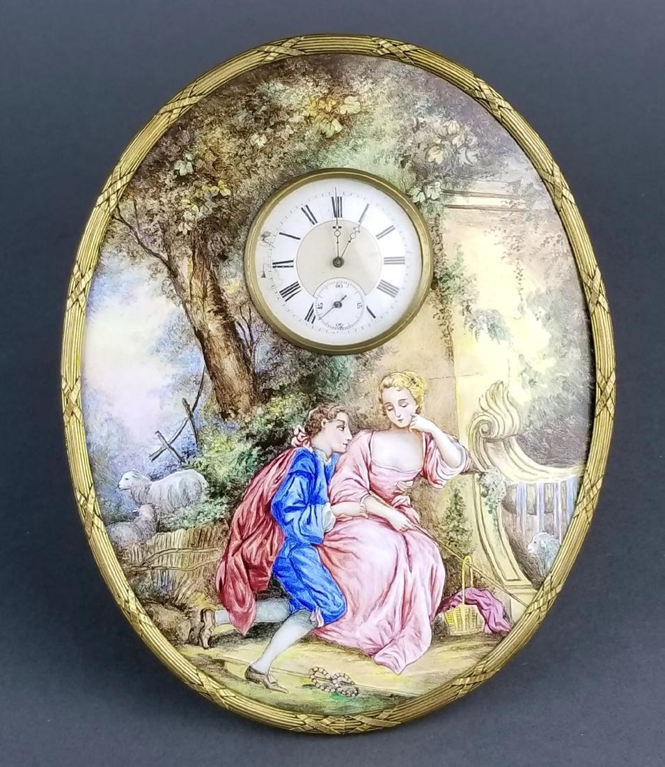 Large Austrian Viennese Enamel Table Clock, 19th C.