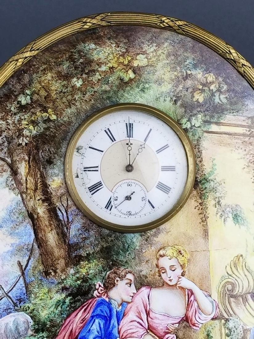 Large Austrian Viennese Enamel Table Clock, 19th C. - 2