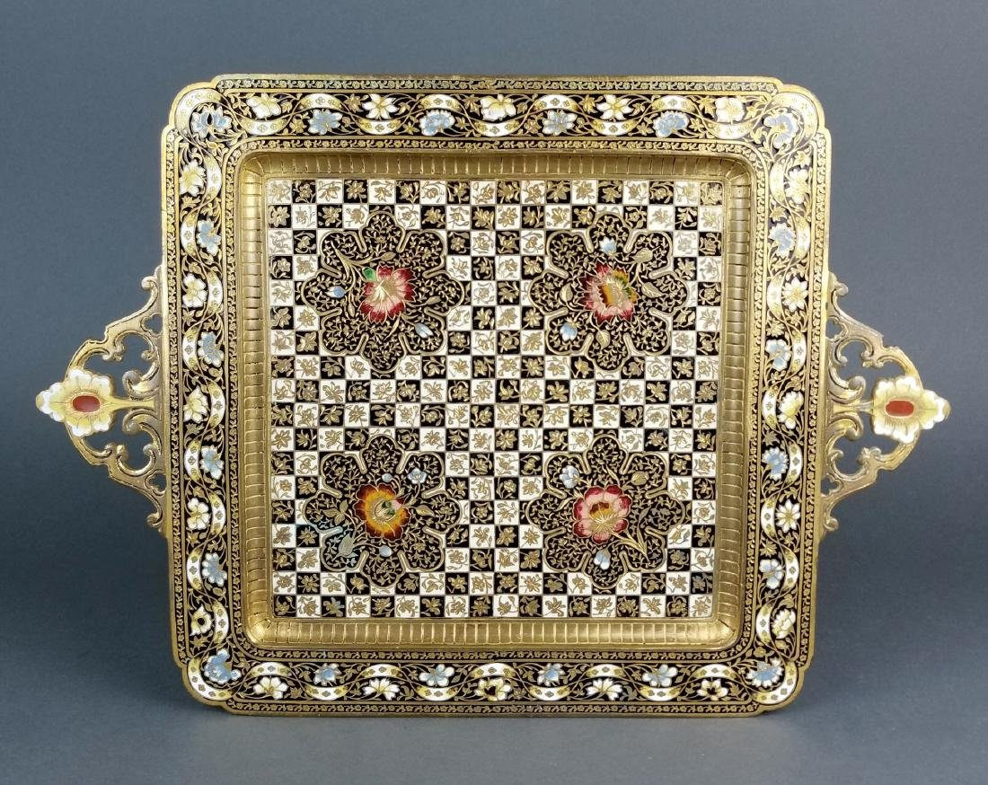 Very Fine French Champleve Enamel and Bronze Tray, 19th
