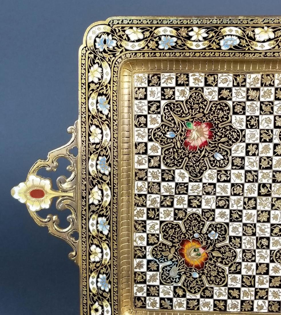 Very Fine French Champleve Enamel and Bronze Tray, 19th - 2