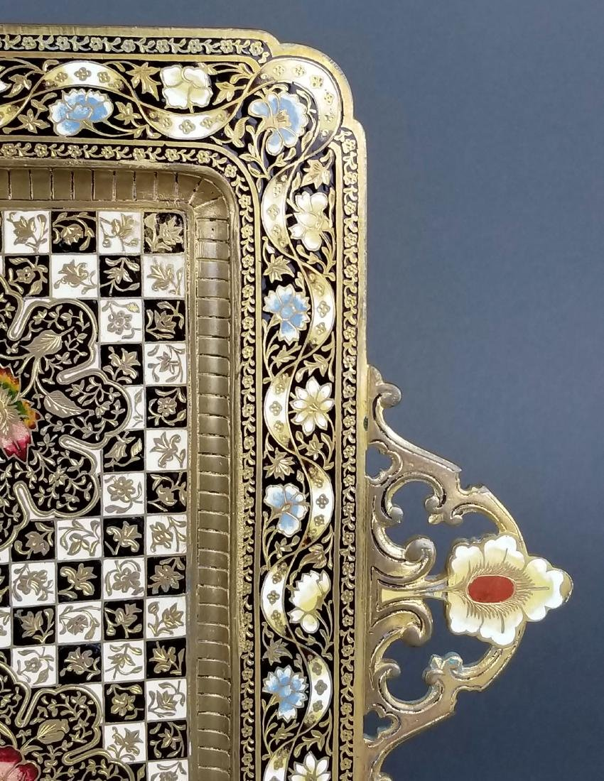 Very Fine French Champleve Enamel and Bronze Tray, 19th - 4