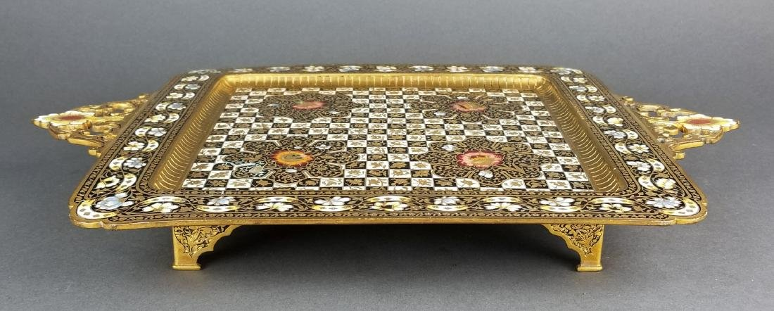Very Fine French Champleve Enamel and Bronze Tray, 19th - 5