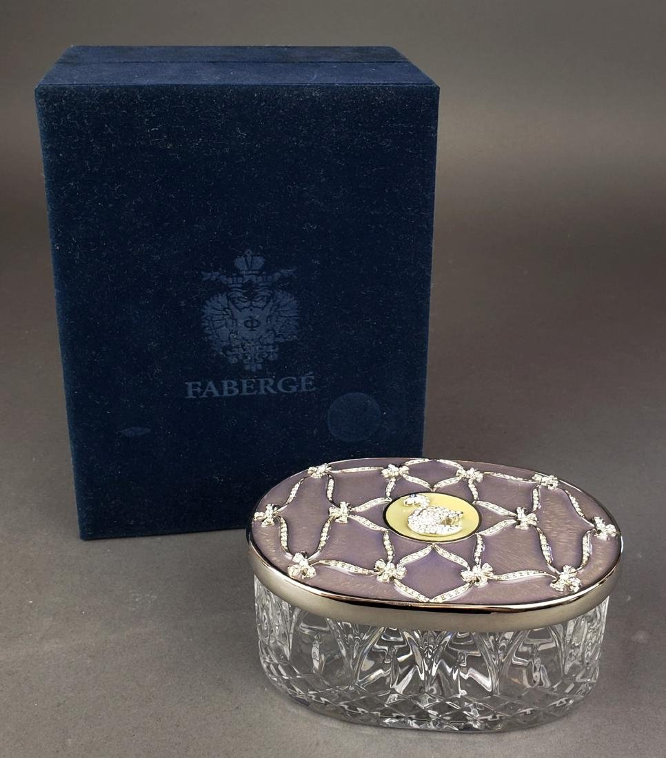 Faberge Enamel Silver & Crystal Jewelry Box