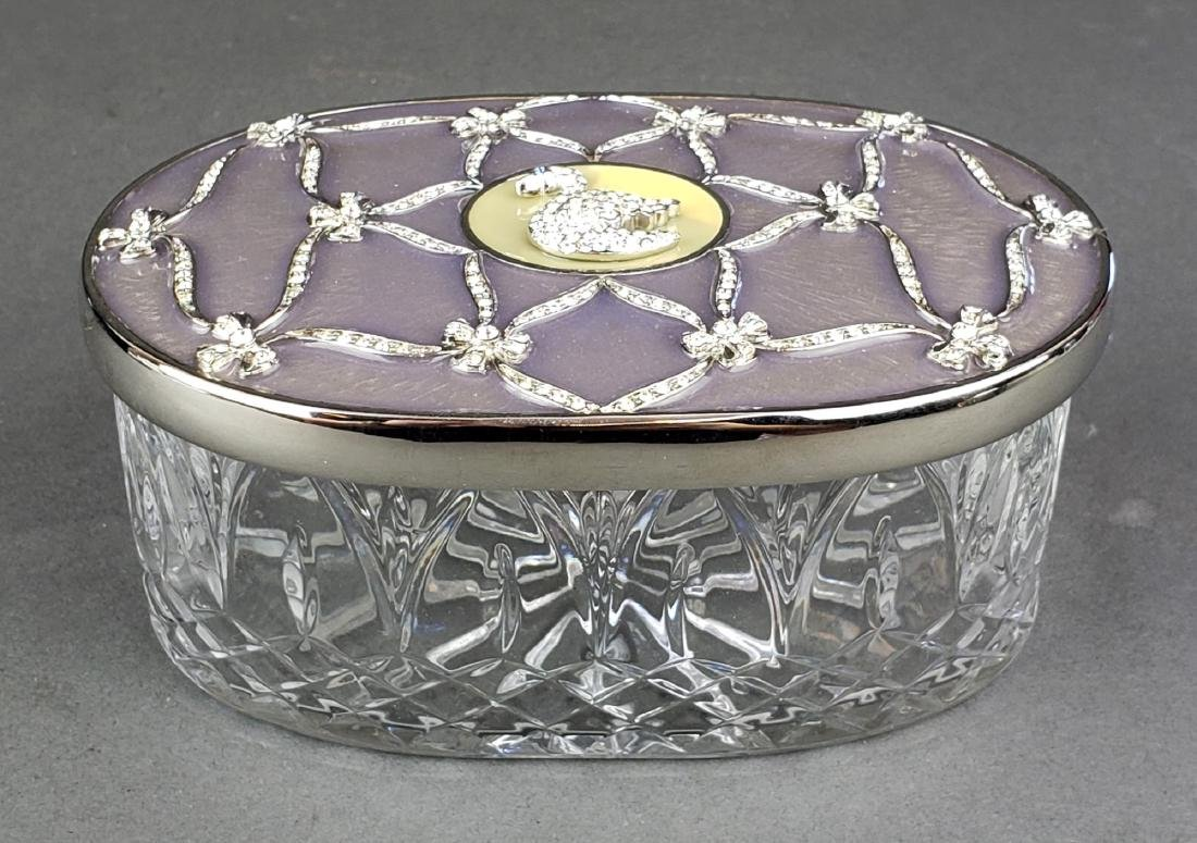 Faberge Enamel Silver & Crystal Jewelry Box - 2