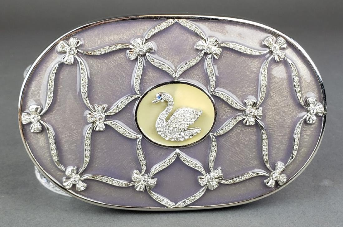 Faberge Enamel Silver & Crystal Jewelry Box - 3