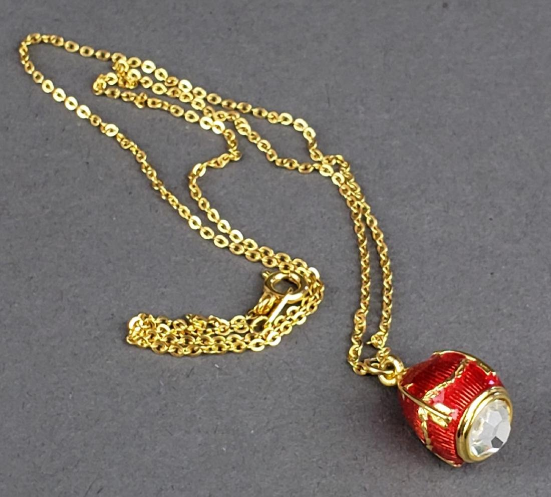 Faberge Egg Imperial Rosebud Surprise Neckace Jewelry - 5