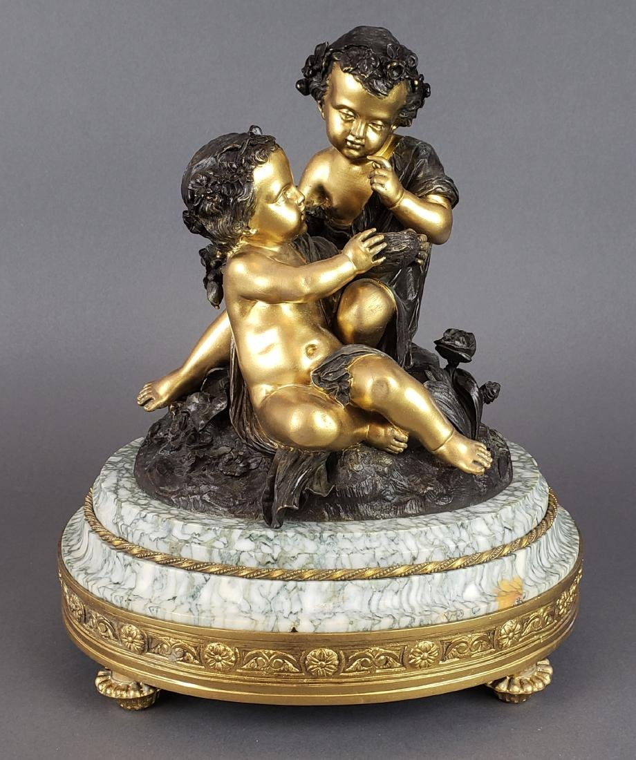 19th C. French Bronze & Marble Figural Statue