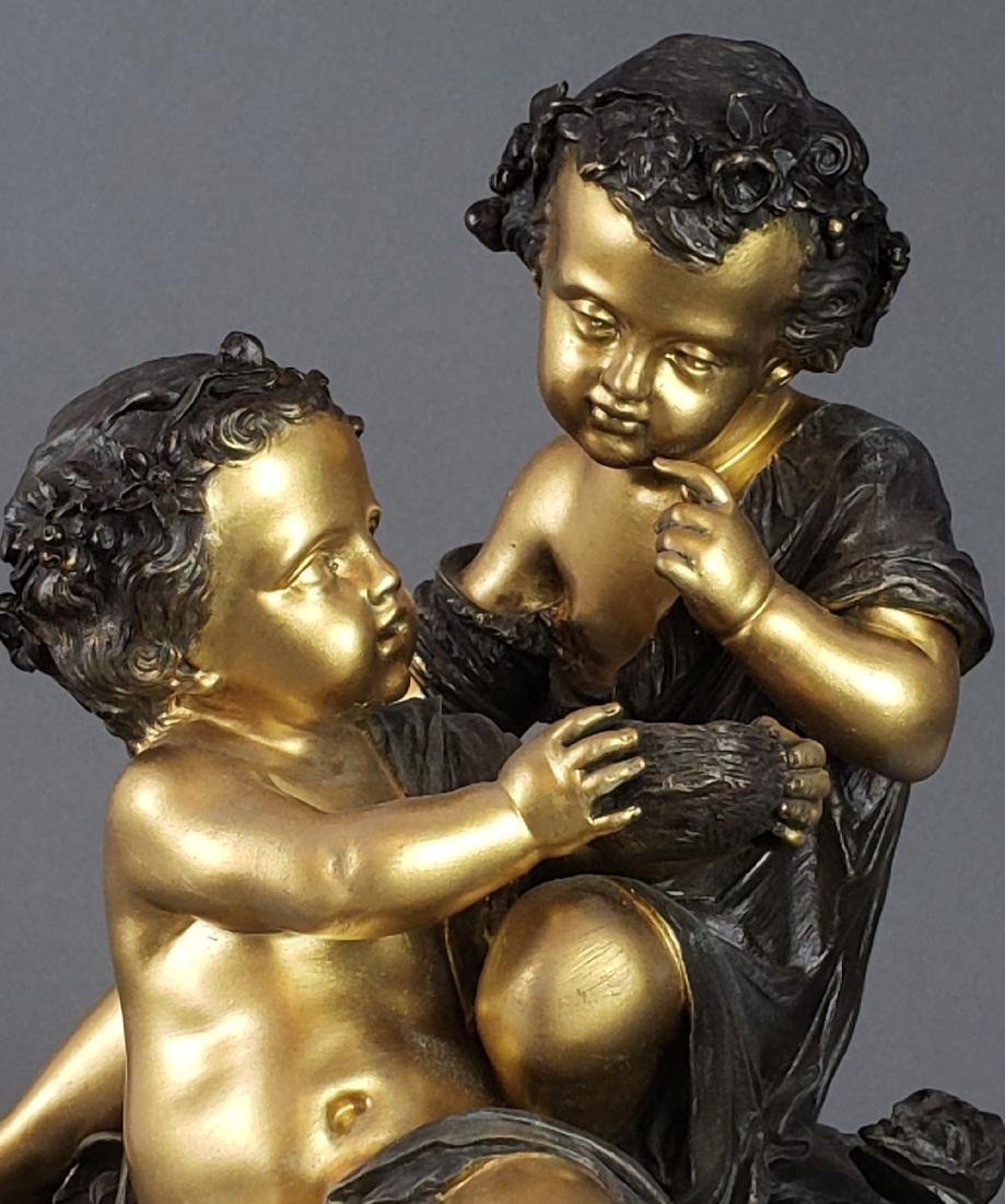 19th C. French Bronze & Marble Figural Statue - 3