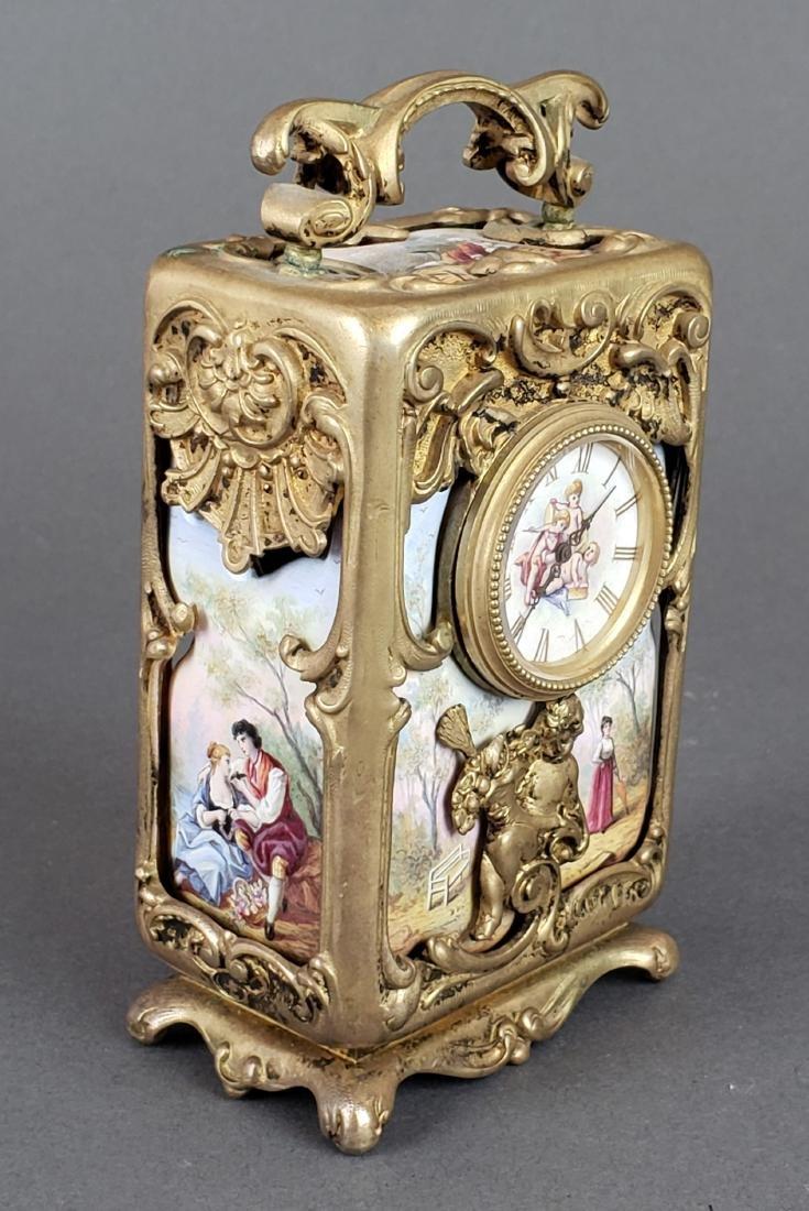 Viennese Enamel & Bronze Clockset - 2